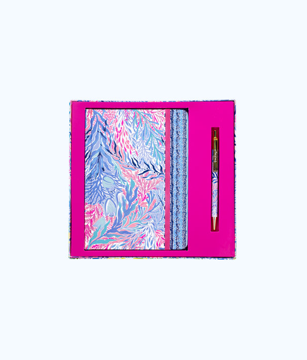 Journal With Pen, Crew Blue Tint Kaleidoscope Coral, large