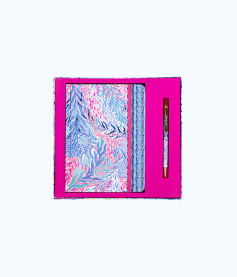 Journal With Pen, Crew Blue Tint Kaleidoscope Coral, large 0