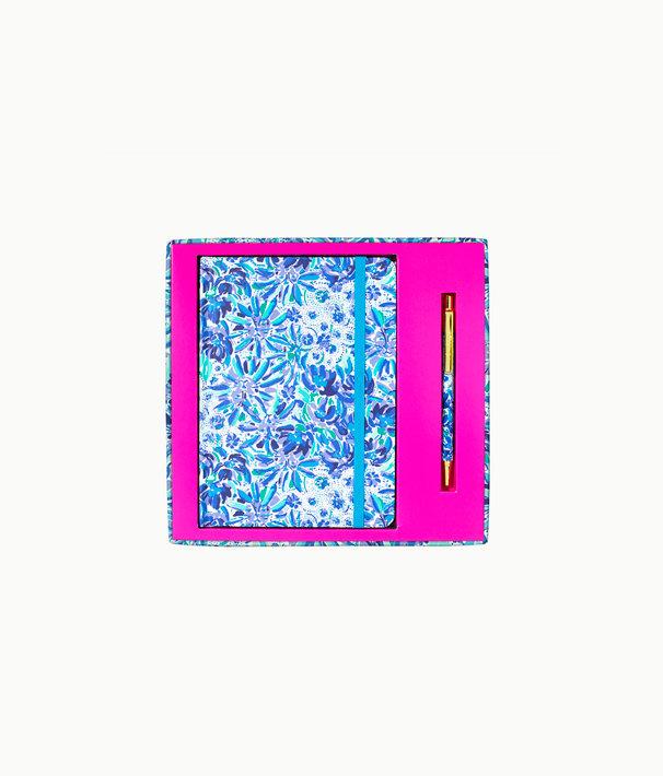 Journal With Pen, Iris Blue High Manetenance, large
