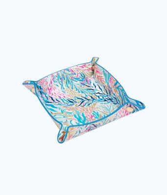 Leatherette Valet Tray, Crew Blue Tint Kaleidoscope Coral, large