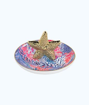 Ring Dish, Crew Blue Tint Kaleidoscope Coral, large