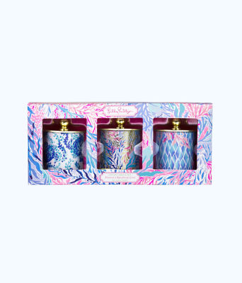 Votive Candle Set, Crew Blue Tint Kaleidoscope Coral, large