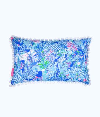 Medium Pillow, Coastal Blue Lion Around, large