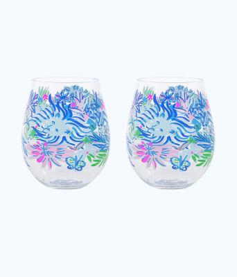 Acrylic Wine Glasses Set, Coastal Blue Lion Around, large 0
