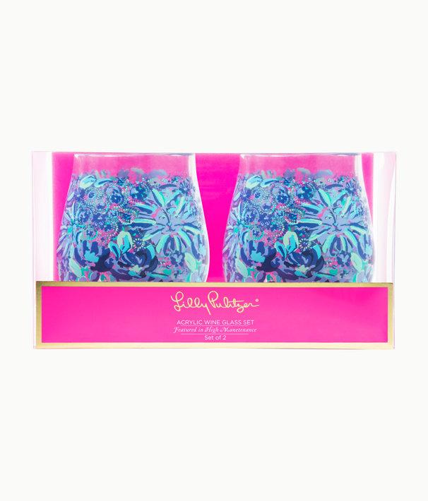 Acrylic Wine Glass Set, Iris Blue High Manetenance, large