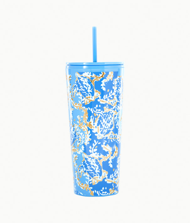 Tumbler With Straw, Blue Peri Turtley Awesome, large