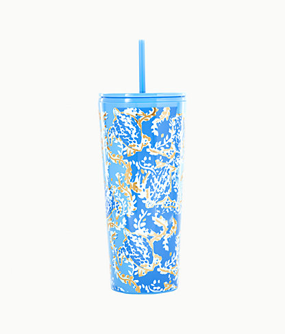 Tumbler With Straw, Blue Peri Turtley Awesome, large 0