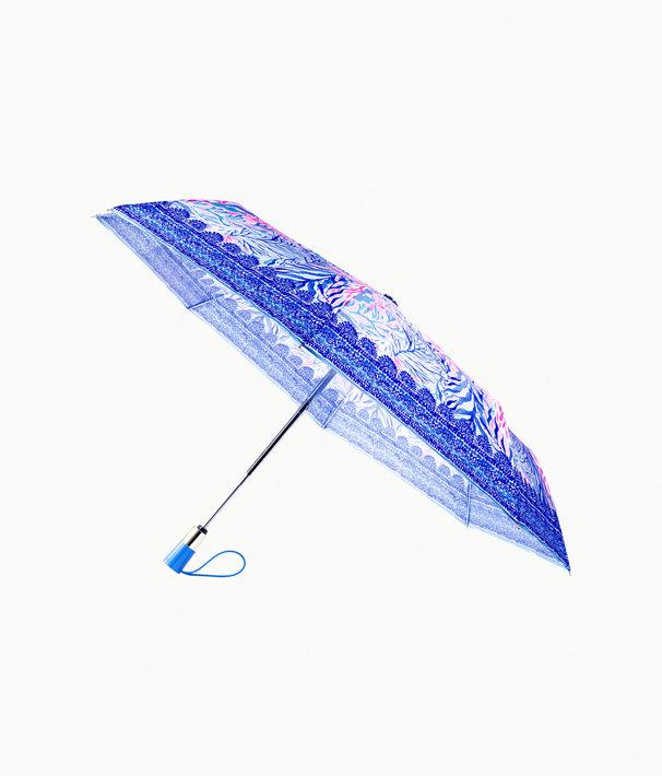 Travel Umbrella, Crew Blue Tint Kaleidoscope Coral, large