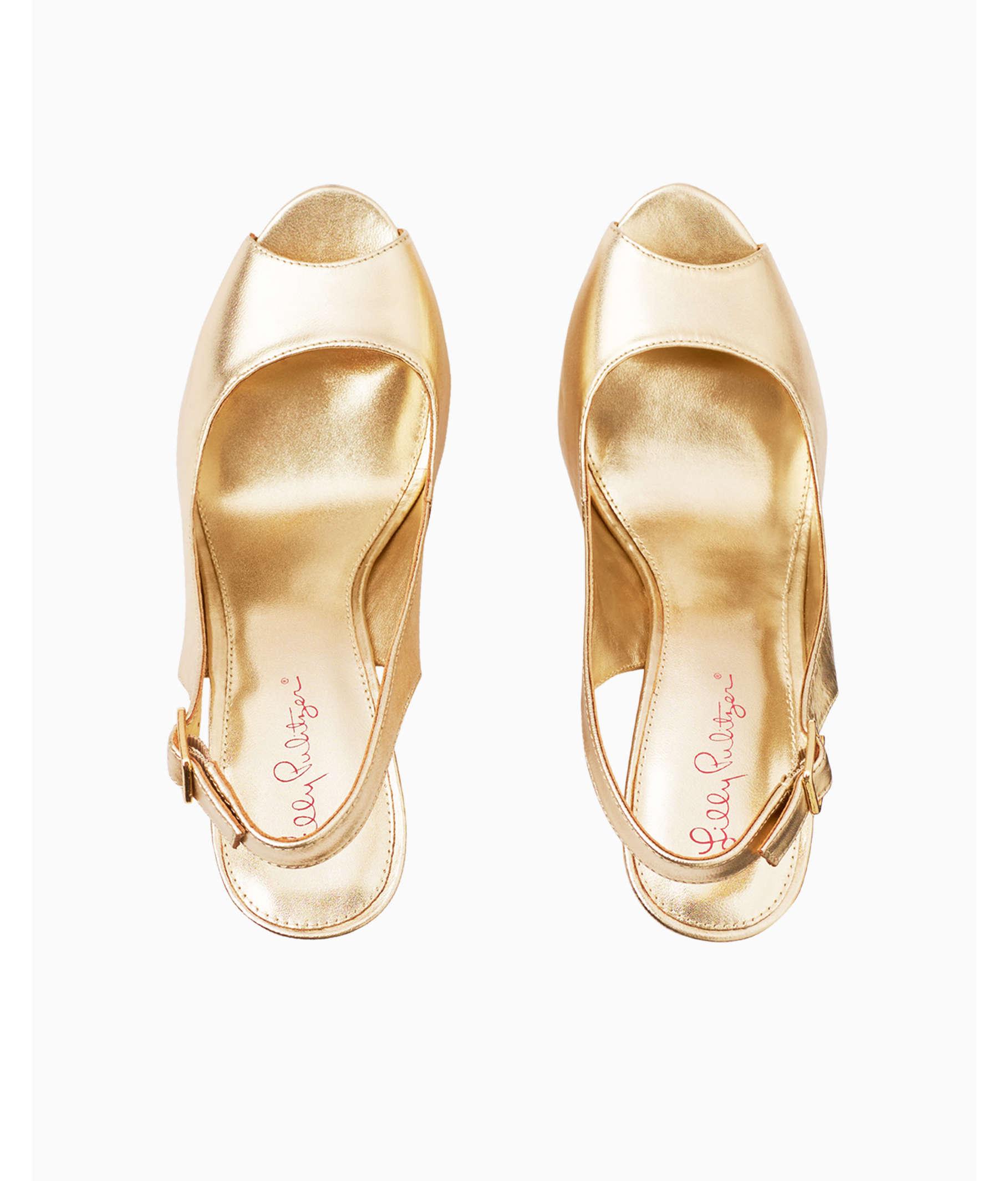 4128736cbe56 Kristin Leather Wedge - Gold Metallic