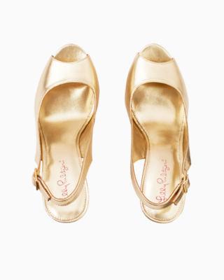 Kristin Leather Wedge - Gold Metallic, Gold Metallic, large