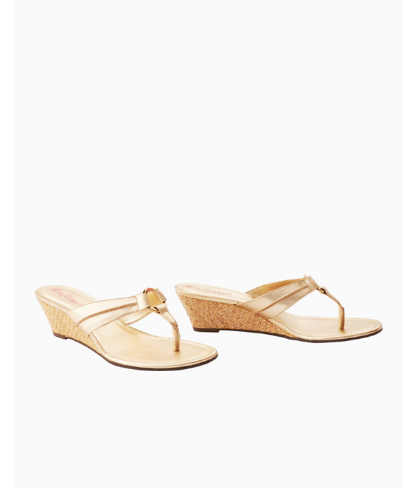McKim Wedge Sandal, Gold Metallic, large