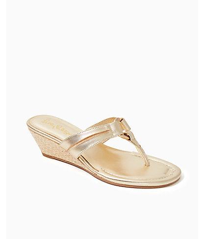 McKim Wedge Sandal, Gold Metallic, large 0