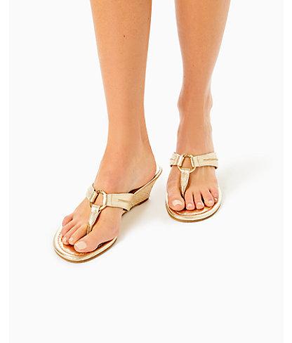 McKim Wedge Sandal, Gold Metallic, large 1
