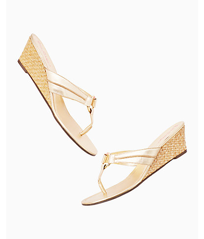 McKim Wedge Sandal, Gold Metallic, large 2