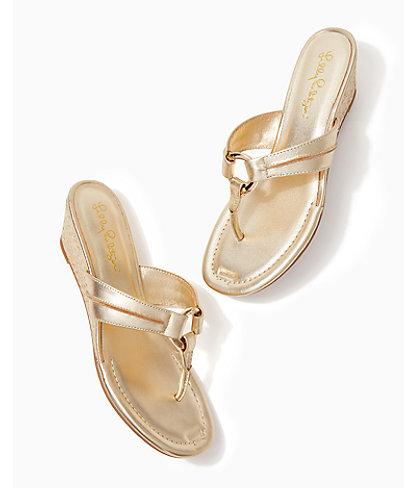 McKim Wedge Sandal, Gold Metallic, large 3