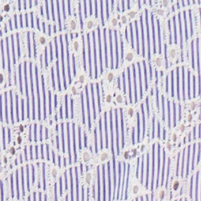 Crew Blue Tint Yarn Dye Stripe Floral Eyelet
